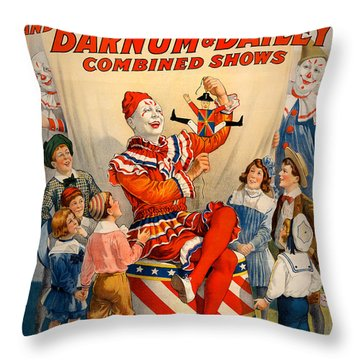 Vintage Ringling Brothers And Barnum And Bailey Combined Circus Throw Pillow