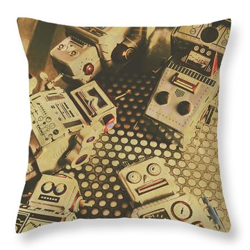 Vintage Robot Charging Zone Throw Pillow