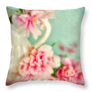 Vintage Romantic Peonies Throw Pillow