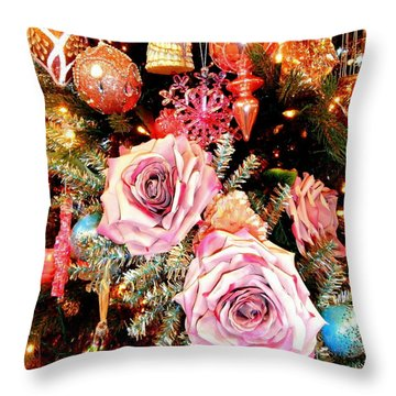 Vintage Rose Holiday Decorations Throw Pillow