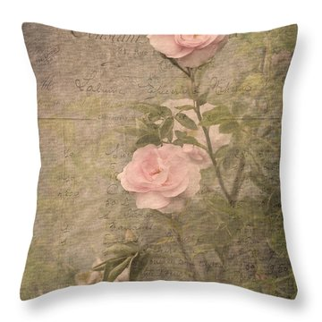 Vintage Rose Poster Throw Pillow
