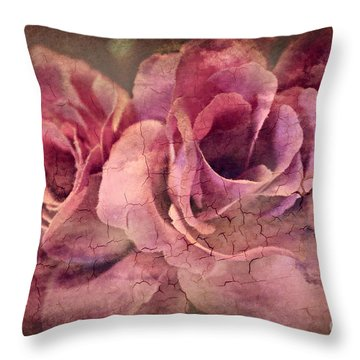 Vintage Roses - Deep Pink Throw Pillow