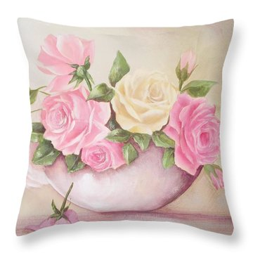 Vintage Roses Shabby Chic Roses Painting Print Throw Pillow by Chris Hobel