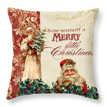Vintage Santa Claus - Glittering Christmas Throw Pillow