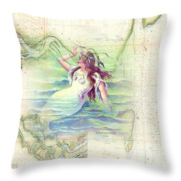 Vintage Savannah Mermaid Throw Pillow