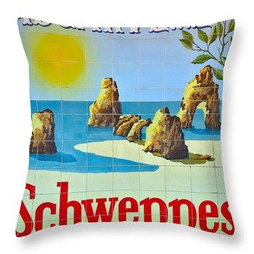 Vintage Schweppes Algarve Mosaic Throw Pillow
