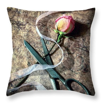 Vintage Scissors, Dried Pink Rose And Ribbon Throw Pillow