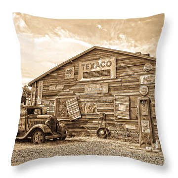 Vintage Service Station Throw Pillow by Steve McKinzie
