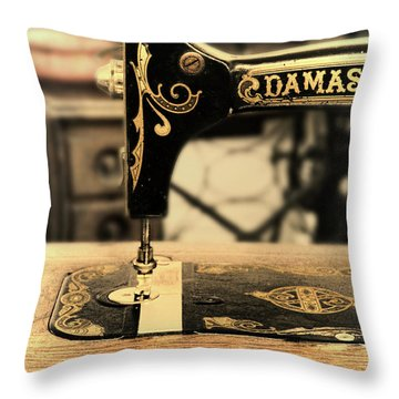 Vintage Sewing Machine Throw Pillow by Jill Battaglia