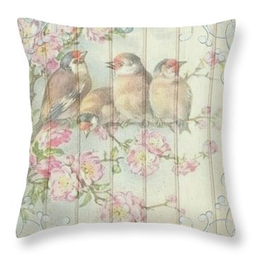 Vintage Shabby Chic Floral Faded Birds Design Throw Pillow