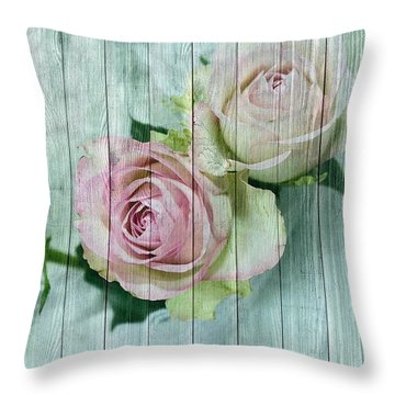 Vintage Shabby Chic Pink Roses On Wood Throw Pillow