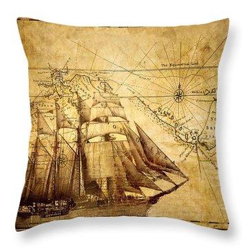 Vintage Ship Map Throw Pillow