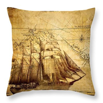 Throw Pillow featuring the mixed media Vintage Ship Map by Lucia Sirna