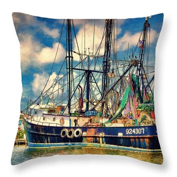 Vintage Shrimpers Throw Pillow