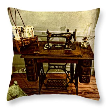 Vintage Singer Sewing Machine Throw Pillow by Judy Vincent