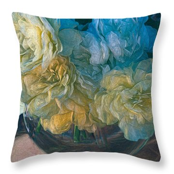 Vintage Still Life Bouquet Painting Throw Pillow