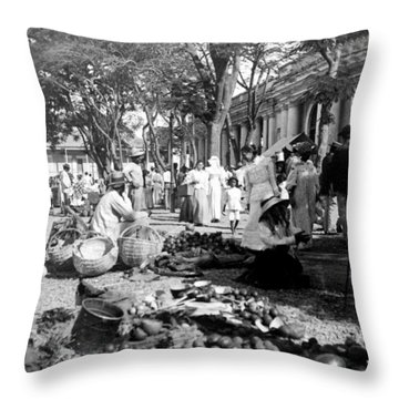 Vintage Street Scene In Ponce - Puerto Rico - C 1899 Throw Pillow by International  Images