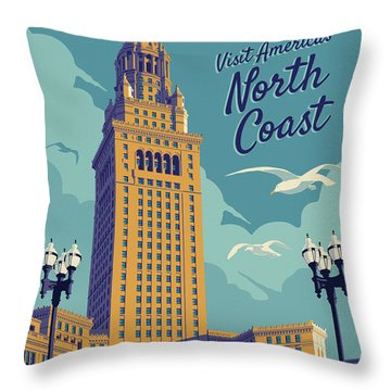 Cleveland Poster - Vintage Style Travel  Throw Pillow