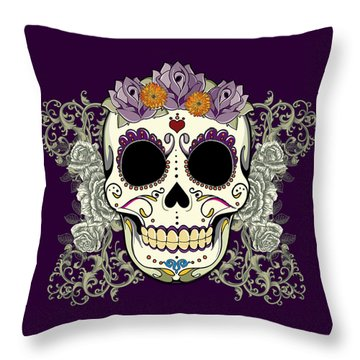 Vintage Sugar Skull And Flowers Throw Pillow
