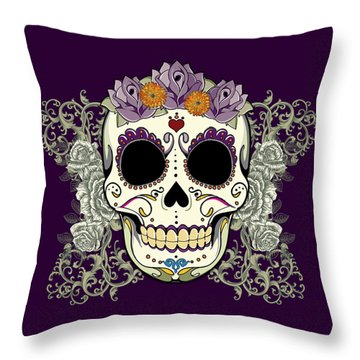Vintage Sugar Skull And Flowers Throw Pillow by Tammy Wetzel