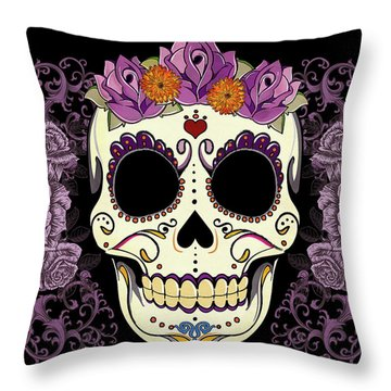 Vintage Sugar Skull And Roses Throw Pillow