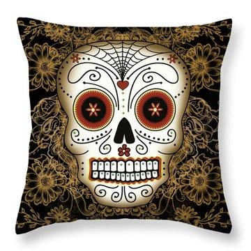 Vintage Sugar Skull Throw Pillow