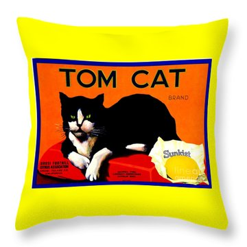 Vintage Sunkist Tom Cat Throw Pillow