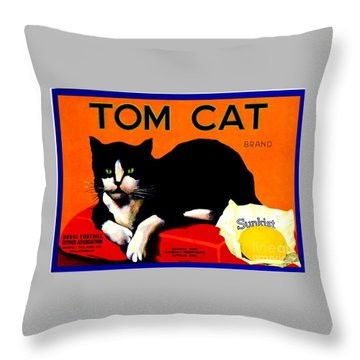 Vintage Sunkist Tom Cat Throw Pillow