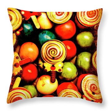 Vintage Sweets Store Throw Pillow