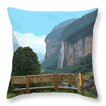 Vintage Switzerland Alps And Waterfall Throw Pillow