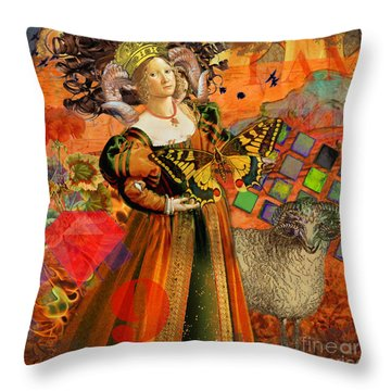 Vintage Taurus Gothic Whimsical Collage Woman Fantasy Throw Pillow by Mary Hubley