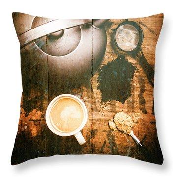 Vintage Tea Crate Cafe Art Throw Pillow