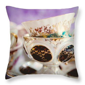 Vintage Teacups Throw Pillow