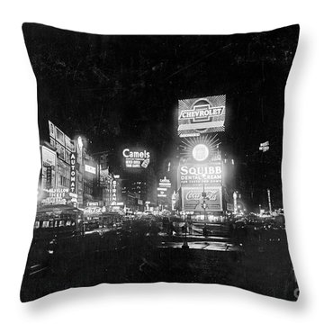 Throw Pillow featuring the photograph Vintage Times Square At Night Black And White by John Stephens