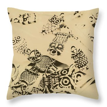 Vintage Toned Owls Throw Pillow