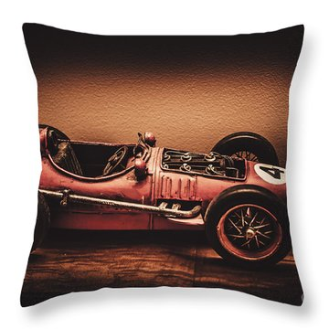 Vintage Toy Model Racing Car Throw Pillow