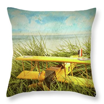 Vintage Toy Plane In Tall Grass At The Beach Throw Pillow