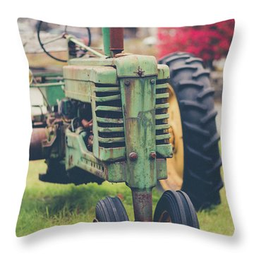 Throw Pillow featuring the photograph Vintage Tractor Autumn by Edward Fielding