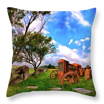 Vintage Tractor In The Blue Ridge Ap Throw Pillow