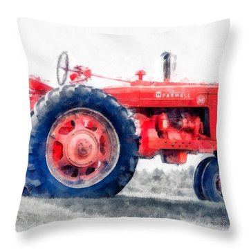 Vintage Tractor Watercolor Throw Pillow