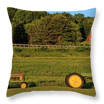 Vintage Tractors Sunset Panoramic Throw Pillow