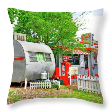 Vintage Trailer And Diner In Bisbee Arizona Throw Pillow