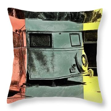 Throw Pillow featuring the painting Sarasota Series Vintage Trailer Park Pop Art by Edward Fielding