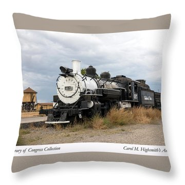 Throw Pillow featuring the photograph Vintage Train At A Scenic Railroad Station In Antonito In Colorado by Carol M Highsmith