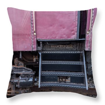 Vintage Train Car Steps Throw Pillow by Terry DeLuco