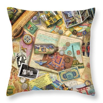 Vintage Travel Throw Pillow by Aimee Stewart