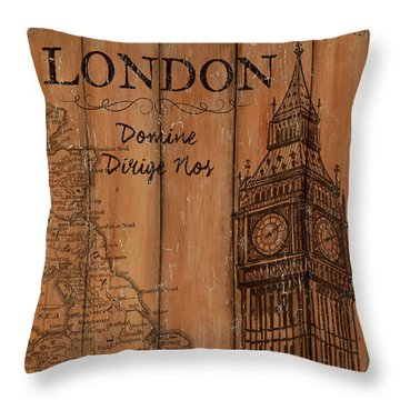 Vintage Travel London Throw Pillow by Debbie DeWitt