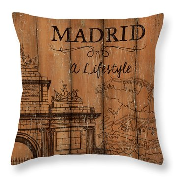 Throw Pillow featuring the painting Vintage Travel Madrid by Debbie DeWitt