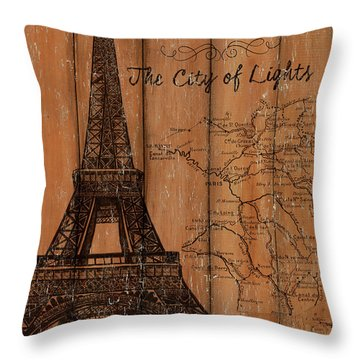 Vintage Travel Paris Throw Pillow