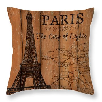 Throw Pillow featuring the painting Vintage Travel Paris by Debbie DeWitt